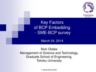 Key Factors  of BCP Embedding  - SME-BCP survey March 24, 2014