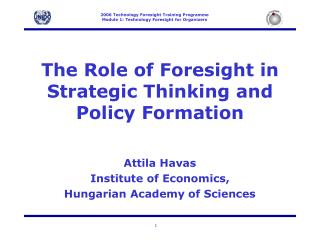 The  Role of Foresight in Strategic Thinking and Policy Formation