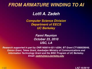 FROM ARMATURE WINDING TO AI Lotfi A. Zadeh  Computer Science Division