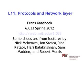 L11: Protocols and Network layer