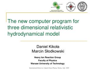 The new computer program for three dimensional relativistic hydrodynamical model