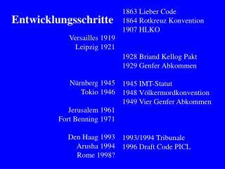 Versailles 1919 Leipzig 1921 N�rnberg 1945 Tokio 1946 Jerusalem 1961 Fort Benning 1971