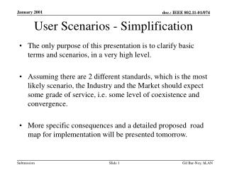 User Scenarios - Simplification