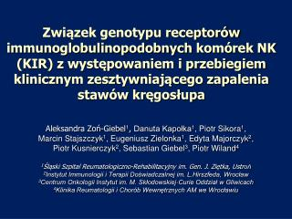 Aleksandra Zoń-Giebel 1 ,  Danuta Kapołka 1 , Piotr Sikora 1 ,