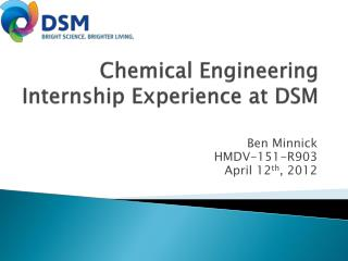 Chemical Engineering  Internship Experience at DSM