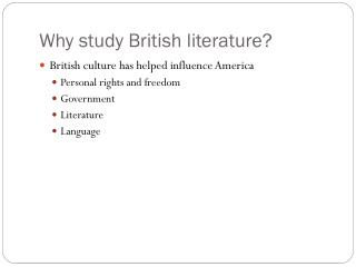 Why study British literature?