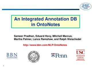An Integrated Annotation DB  in OntoNotes