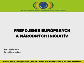 PREPOJENIE EURÓPSKYCH  A NÁRODNÝCH INICIATÍV Mgr. Aneta Baranová