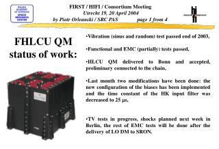 FHLCU QM  status of work: