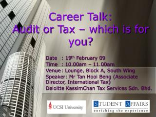 Career Talk:  Audit or Tax – which is for you?
