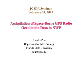 Assimilation of Space-Borne GPS Radio Occultation Data in NWP