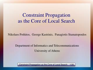 Constraint Propagation as the Core of Local Search