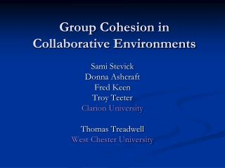 Group Cohesion in Collaborative Environments