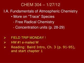 CHEM 304 – 1/ 27/12