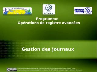 Programme  Opérations de  registre  avancées  Gestion des journaux
