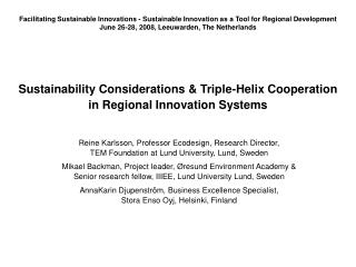 Sustainability Considerations  Triple-Helix Cooperation  in Regional Innovation Systems