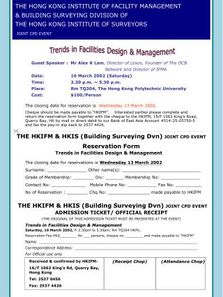THE HONG KONG INSTITUTE OF FACILITY MANAGEMENT & BUILDING SURVEYING DIVISION OF