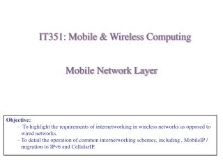 Mobile Network Layer