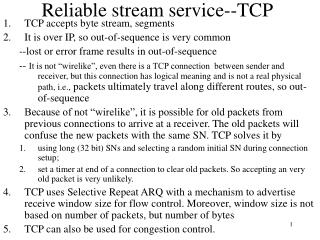 Reliable stream service--TCP