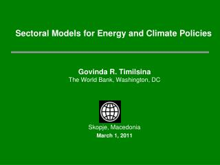 Sectoral Models for Energy and Climate Policies