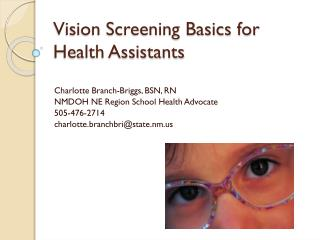 Vision Screening Basics for Health Assistants