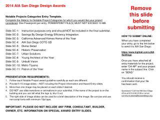 Slide SC-1  2014 AIA San Diego Design Awards Special Categories Instructions
