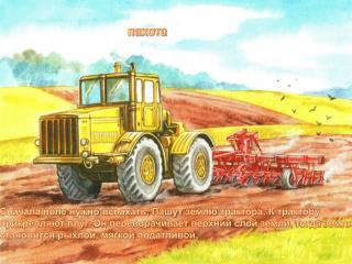 Сначала  поле нужно вспахать. Пашут землю трактора. К трактору