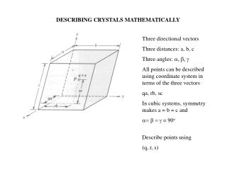 DESCRIBING CRYSTALS MATHEMATICALLY