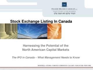 Harnessing the Potential of the  North American Capital Markets