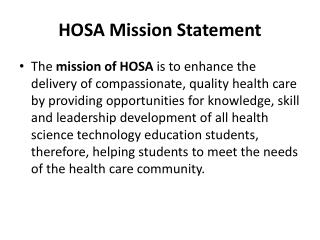 HOSA Mission Statement