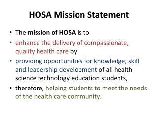 HOSA Mission Statement