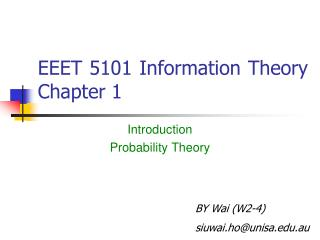 EEET 5101 Information Theory Chapter 1