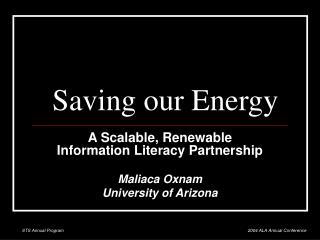 Saving our Energy