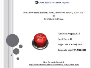 Low-speed Electric Vehicle Industry China Report 2014-2017