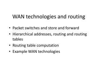 WAN technologies and routing