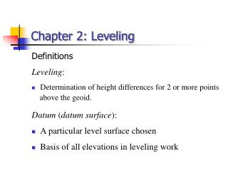 Chapter 2: Leveling