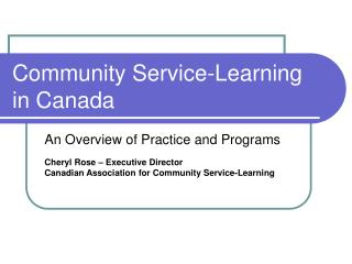 Community Service-Learning in Canada