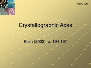 Crystallographic Axes