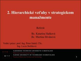 2. Hierarchické vzťahy v strategickom manažmente