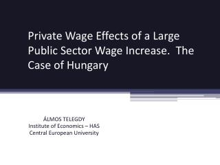 Private  Wage  Effects of a  Large  Public Sector  Wage Increase .  The Case of Hungary