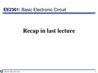 Recap in last lecture