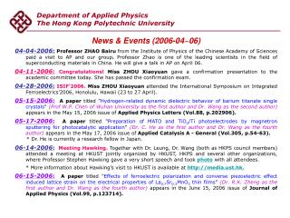 Department of Applied Physics The Hong Kong Polytechnic University