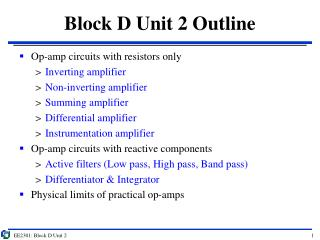 Block D Unit 2 Outline