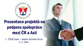 Prezentace projektů na podporu spolupráce mezi ČR a Asií