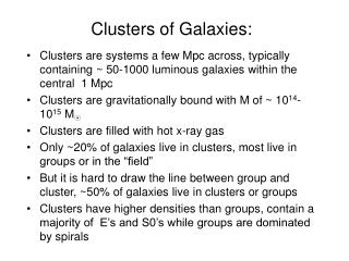 Clusters of Galaxies: