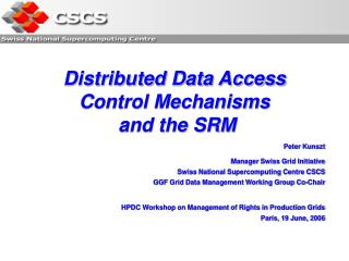 Distributed Data Access Control Mechanisms  and the SRM