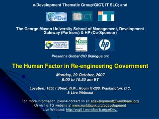 e-Development Thematic Group/GICT, IT SLC; and