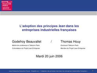 L'adoption des principes  lean  dans les entreprises industrielles françaises