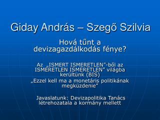 Giday András – Szegő Szilvia