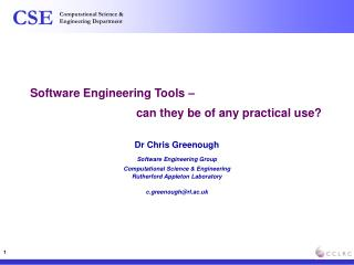 Software Engineering Tools –  			can they be of any practical use?